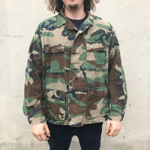 Vintage military Camo button up jacket